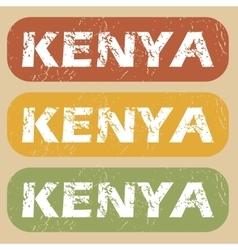Vintage Kenya stamp set vector image
