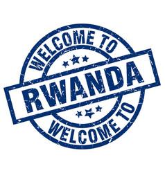 Welcome to rwanda blue stamp vector
