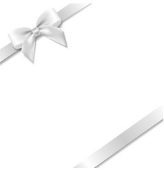 White bow with mint background vector