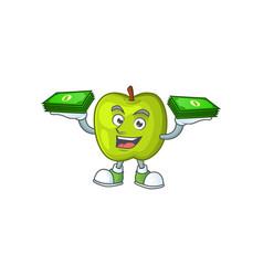 With money bag granny smith green apple cartoon vector
