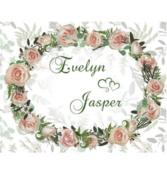 wreath with flowers and leaves background pattern vector image