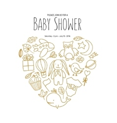 Baby shower invitation template Hand drawn vector image vector image