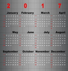 Business template of 2017 calendar on grey table vector image vector image