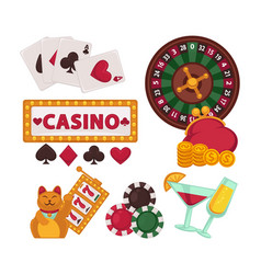 casino equipment for gambling and glasses with vector image