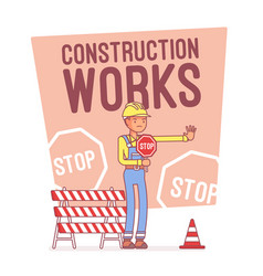 construction works stop lineart concept vector image
