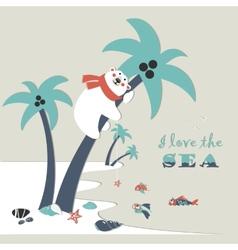 Cute polar bear climbed a palm tree vector image vector image