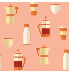 Flat seamless pattern with coffee items vector image vector image
