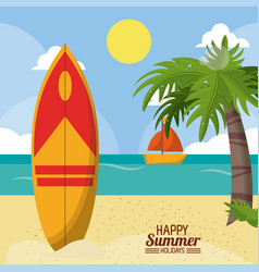 Happy summer holidays poster beach surfboard ship vector