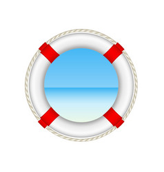 White life buoy as beach concept with rope around vector