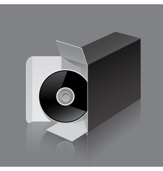 Black Package Box Opened lying on its side with vector image