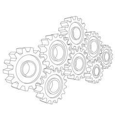 cog wheel gear mechanism close-up white vector image vector image