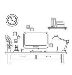 desk with a computer or vector image vector image