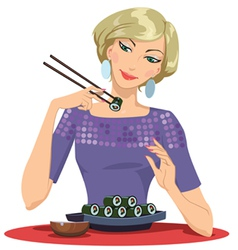 Girl Enjoying Sushi vector image vector image