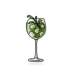 Green cocktail sketch for your design vector image