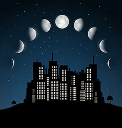 Moon Phases above Night City vector image