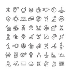 science technologies and satellite line icons vector image vector image