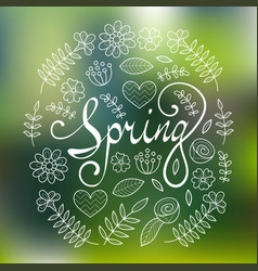 Spring lettering in floral pattern round frame vector