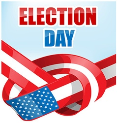 USA election day with ribbon flag vector image
