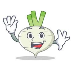 waving turnip character cartoon style vector image vector image