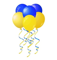 Glossy yellow and blue balloons stylized flag of vector image vector image