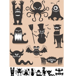 Silhouette Monsters vector image vector image