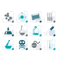 stylized chemistry industry icons vector image