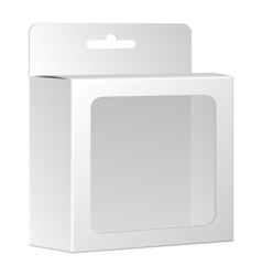 Blank white product package box with window vector image
