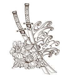 contour image of katanas peonies and wave vector image vector image