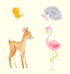 Cute watercolor animal set vector
