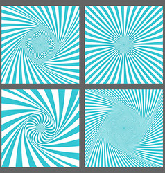 Cyan spiral and ray burst background design set vector image vector image