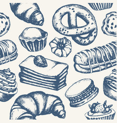 delicious sweets - monochromatic hand drawn vector image vector image
