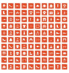 100 fashion icons set grunge orange vector image