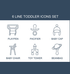 6 toddler icons vector