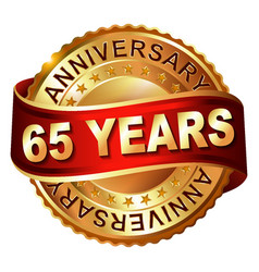 65 years anniversary golden label with ribbon vector