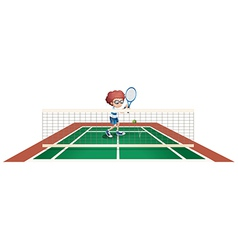 A boy playing tennis at the tennis court vector image