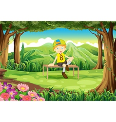 A forest with a boy sitting above the table vector