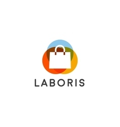 Abstract online shopping bag logo Shop sale vector