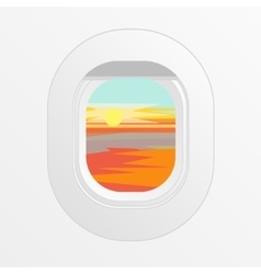 Airplane Window Outdoor Sun and Clouds View vector image