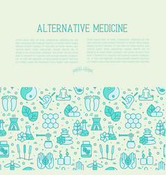 alternative medicine concept with thin line icons vector image