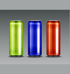 Aluminium cans with cold soda or beer vector