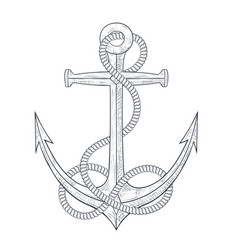 Anchor with rope around hand drawn sketch vector