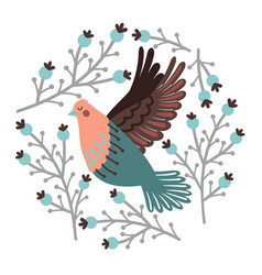 bird and winter berry set vector image
