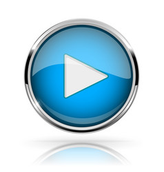 blue round media button play button shiny icon vector image