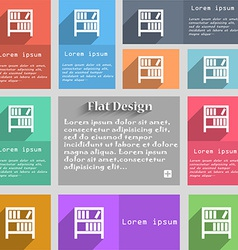 Bookshelf icon sign Set of multicolored buttons vector