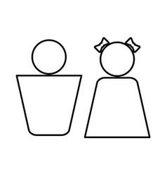 boy and girl black icon vector image