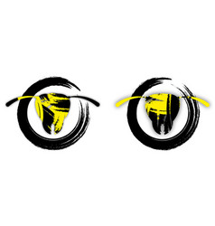 Brutal wasp logo in black and yellow colors vector