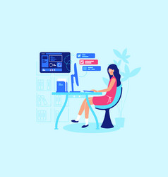 businesswoman is working hard at her workplace vector image