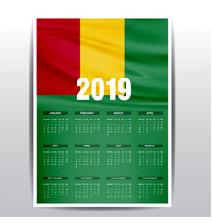 Calendar 2019 guinea flag background english vector