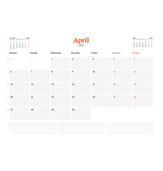 Calendar template for april 2020 business monthly vector