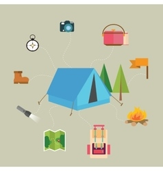 camping hiking icon set map tent compass flag vector image